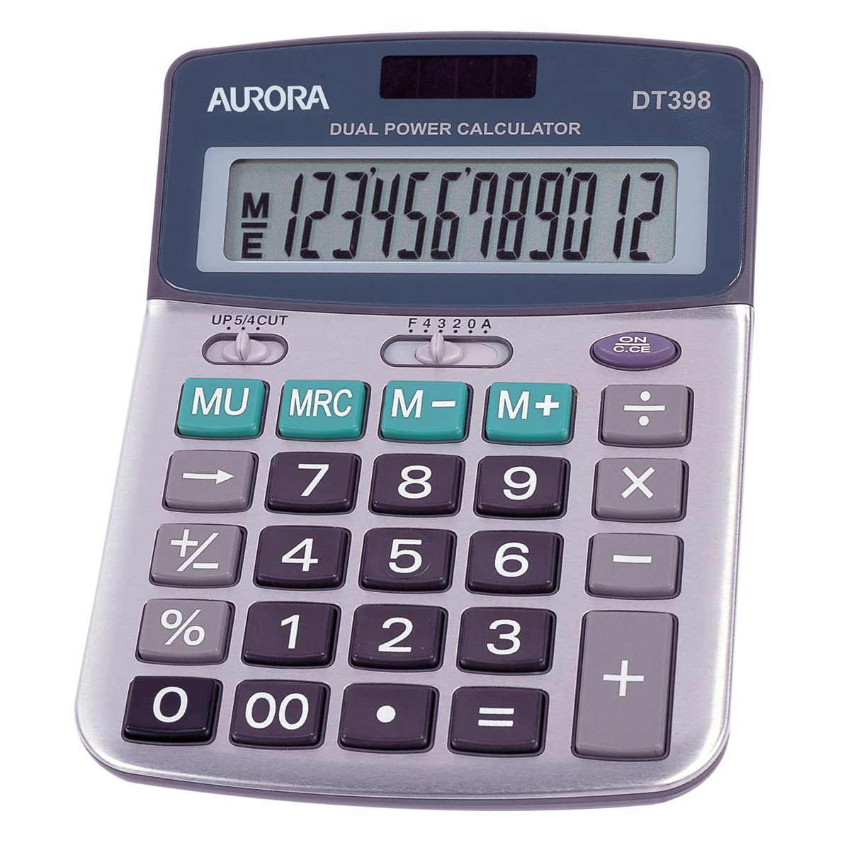 Calculators Aurora Semi-desk Calculator 12 Digit 3 Key Memory Battery/Solar Power 103x30x138mm Grey Ref DT398