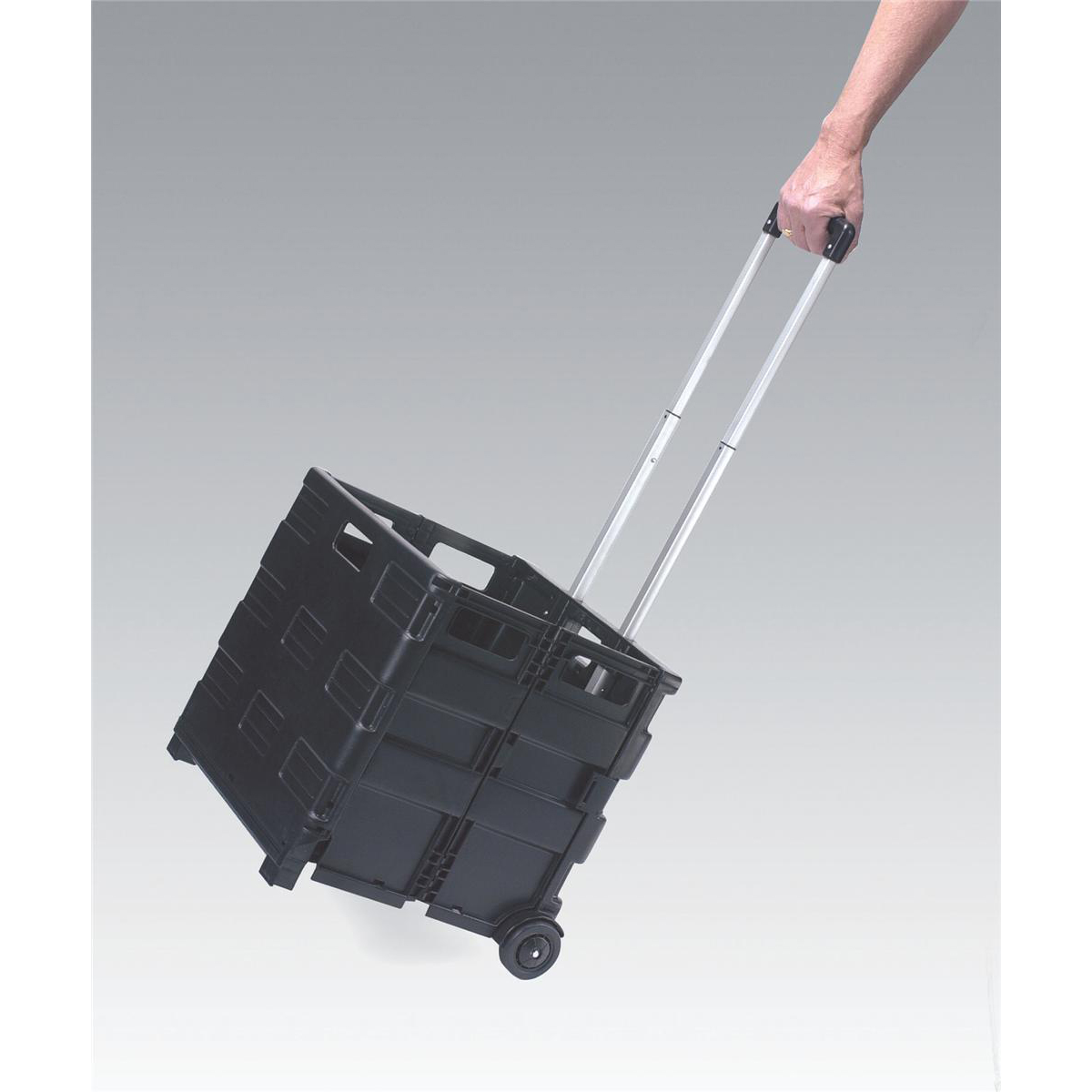Crate Trolley Foldable Capacity 35kg/44 litres 430x380x1000mm Black