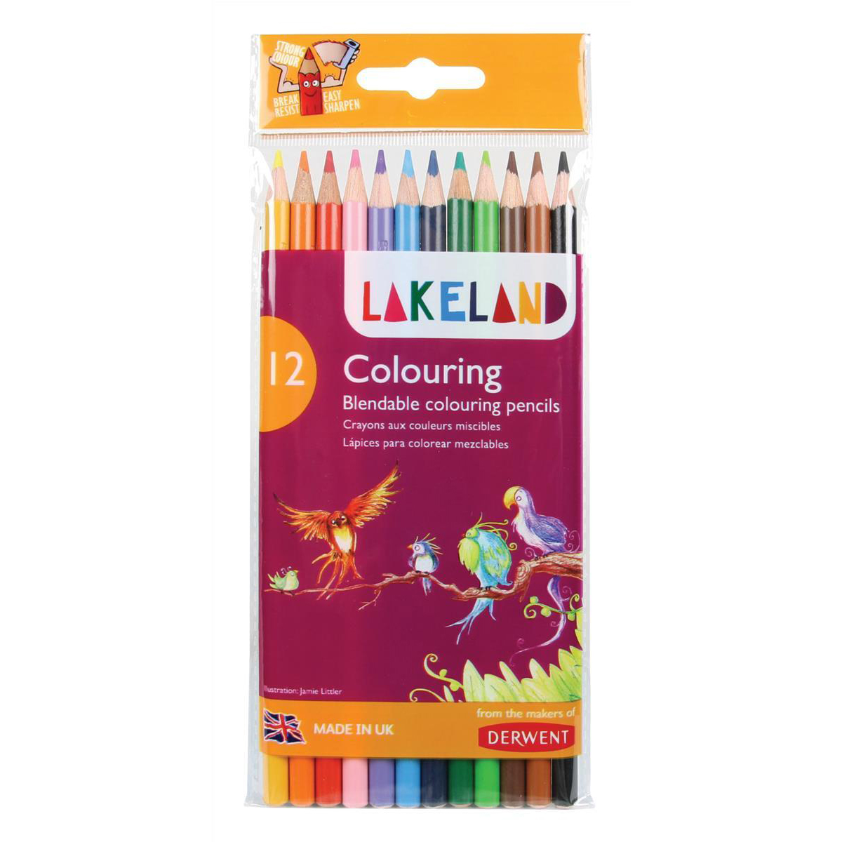 Pencils (Wood Case) Lakeland Colouring Pencils Round-barrelled Soft Blendable Wallet Assorted Ref 33356 Pack 12