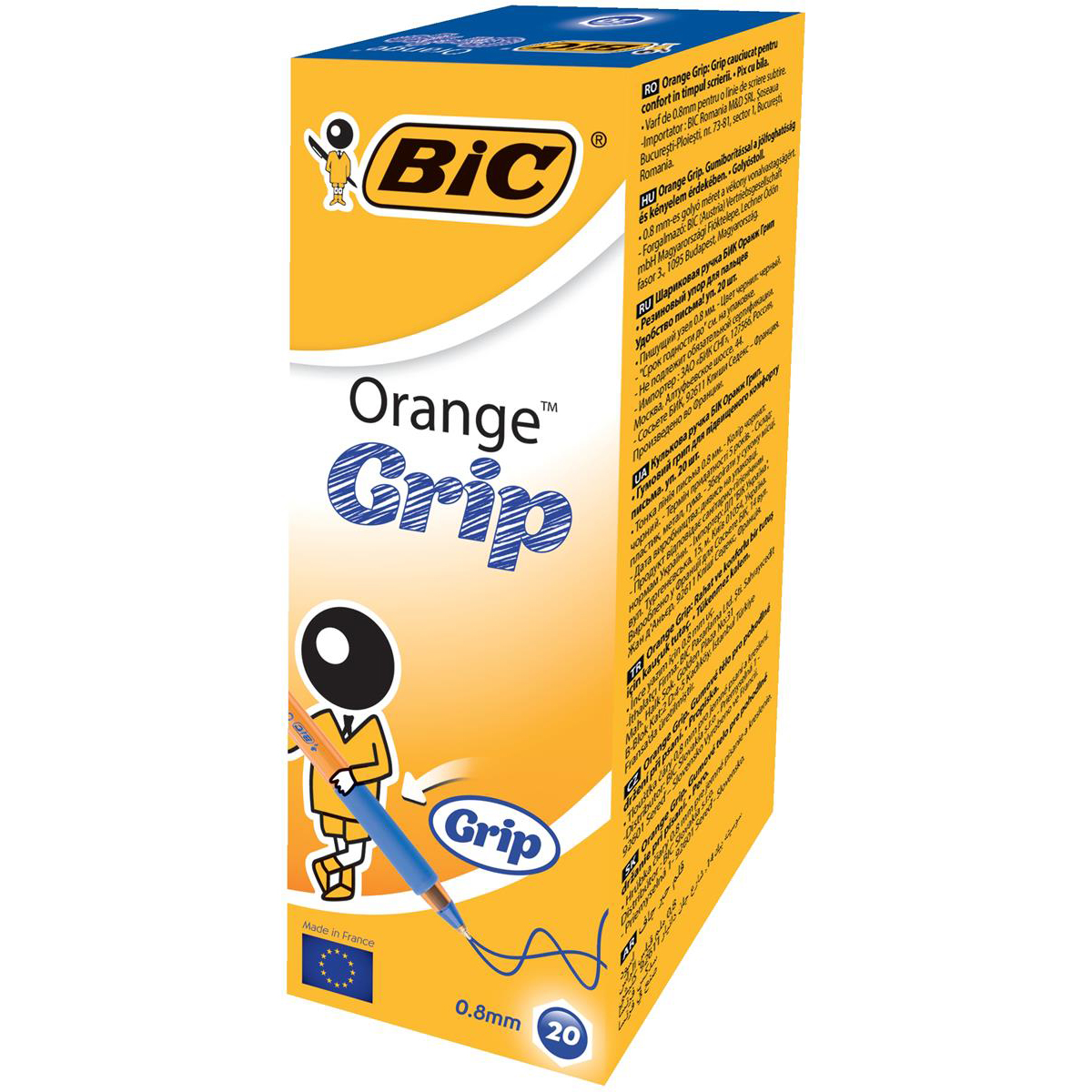 Bic Orange Grip Ball Pen Fine Translucent Barrel 0.8mm Tip 0.3mm Line Blue Ref 811926 [Pack 20]