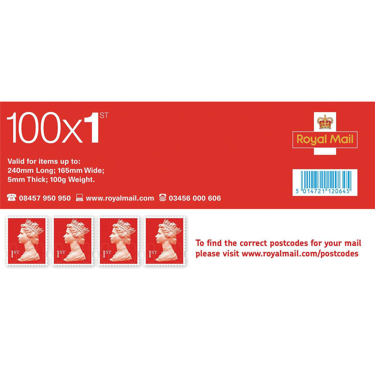 Postage stamp Royal Mail First Class Stamps Pack 100