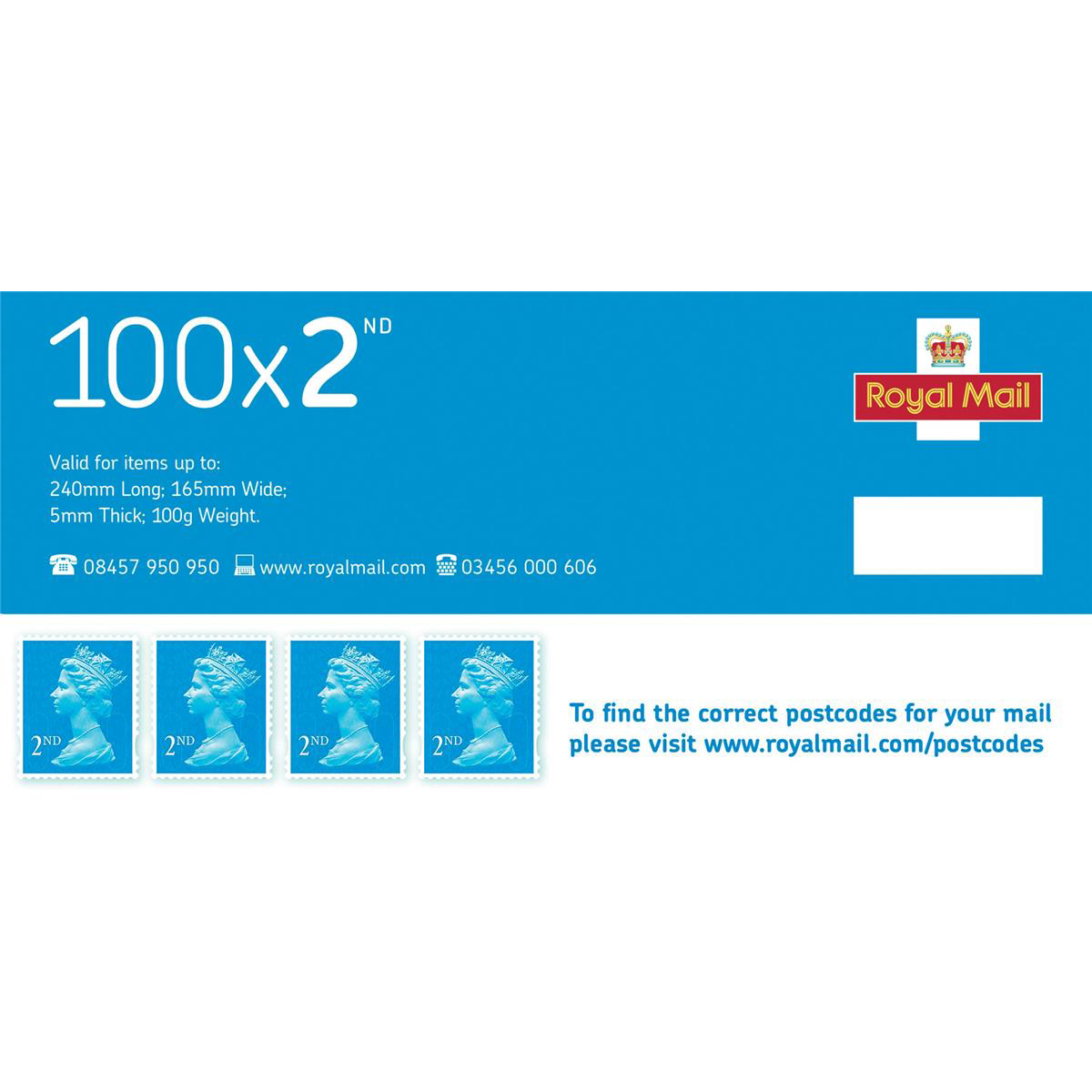 Royal Mail Second Class Stamps Pack 100