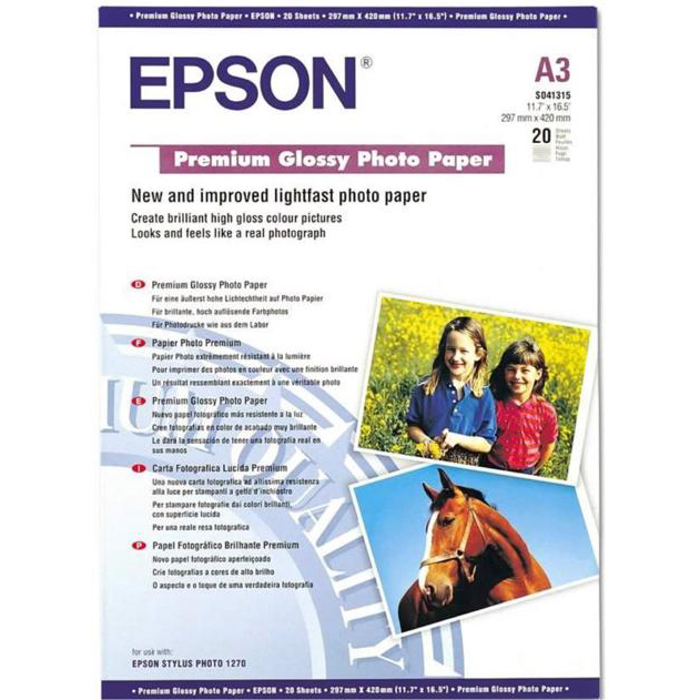 Epson Premium Photo Paper Glossy 255gsm A3 White Ref C13S041315 20 Sheets