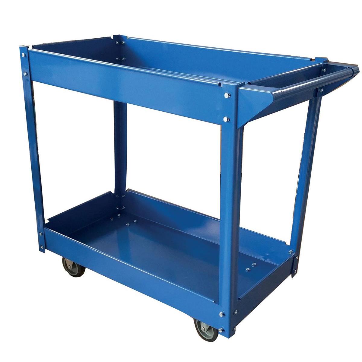5 Star Facilities Tray Trolley 2 Tier Blue