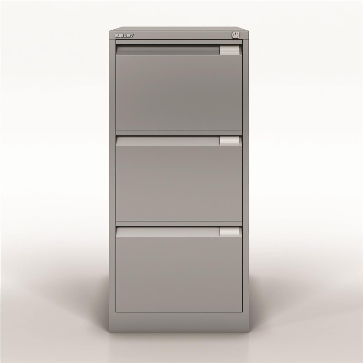 Bisley Filing Cabinet 470x622x1016mm 3 Drawer Goose Grey Ref 1633-av4