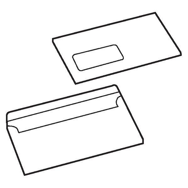 5 Star Value Envelopes Wallet Press Seal Window 90gsm DL 110x220mm White [Pack 1000]