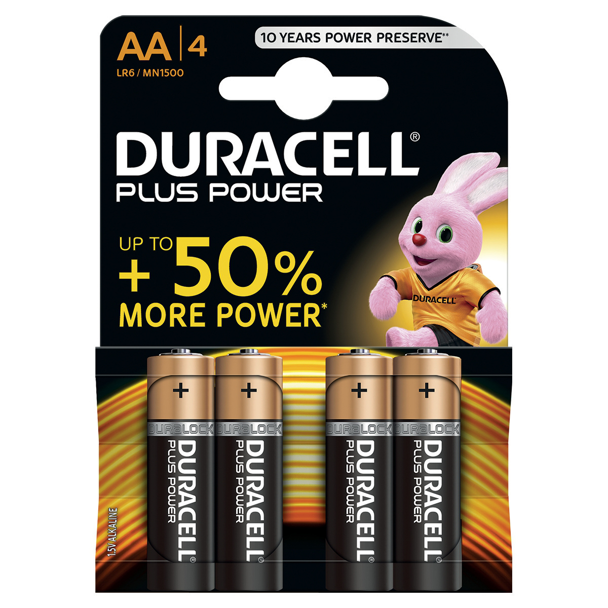 Duracell Plus Power Battery Alkaline 1.5V AA Ref 81275182 Pack 4
