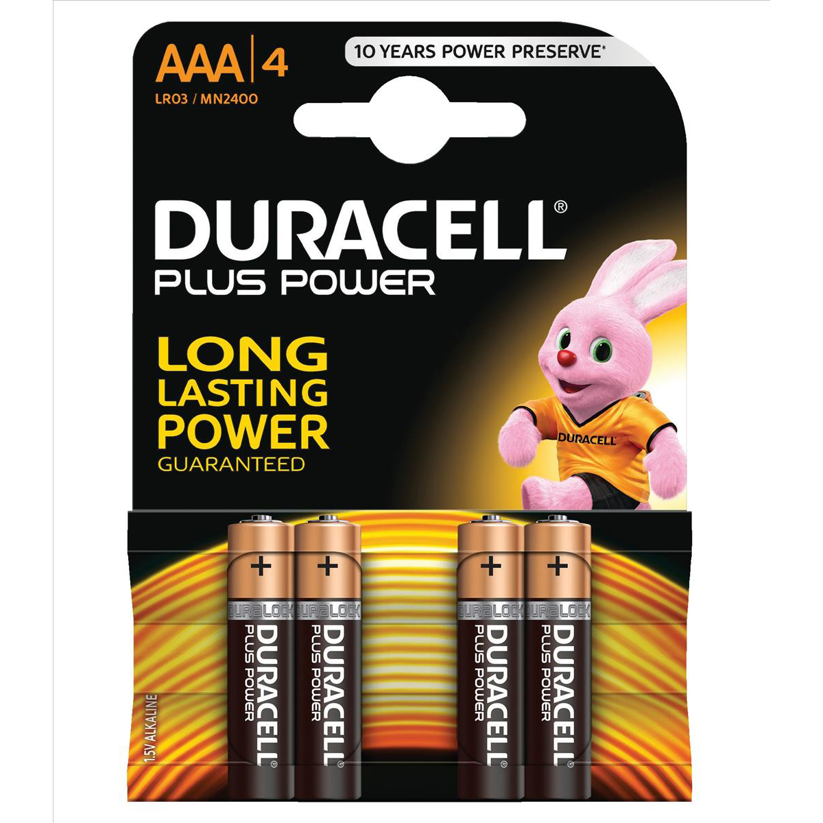 Duracell Plus Power Battery Alkaline AAA Size 1.5V Ref 81275396 Pack 4