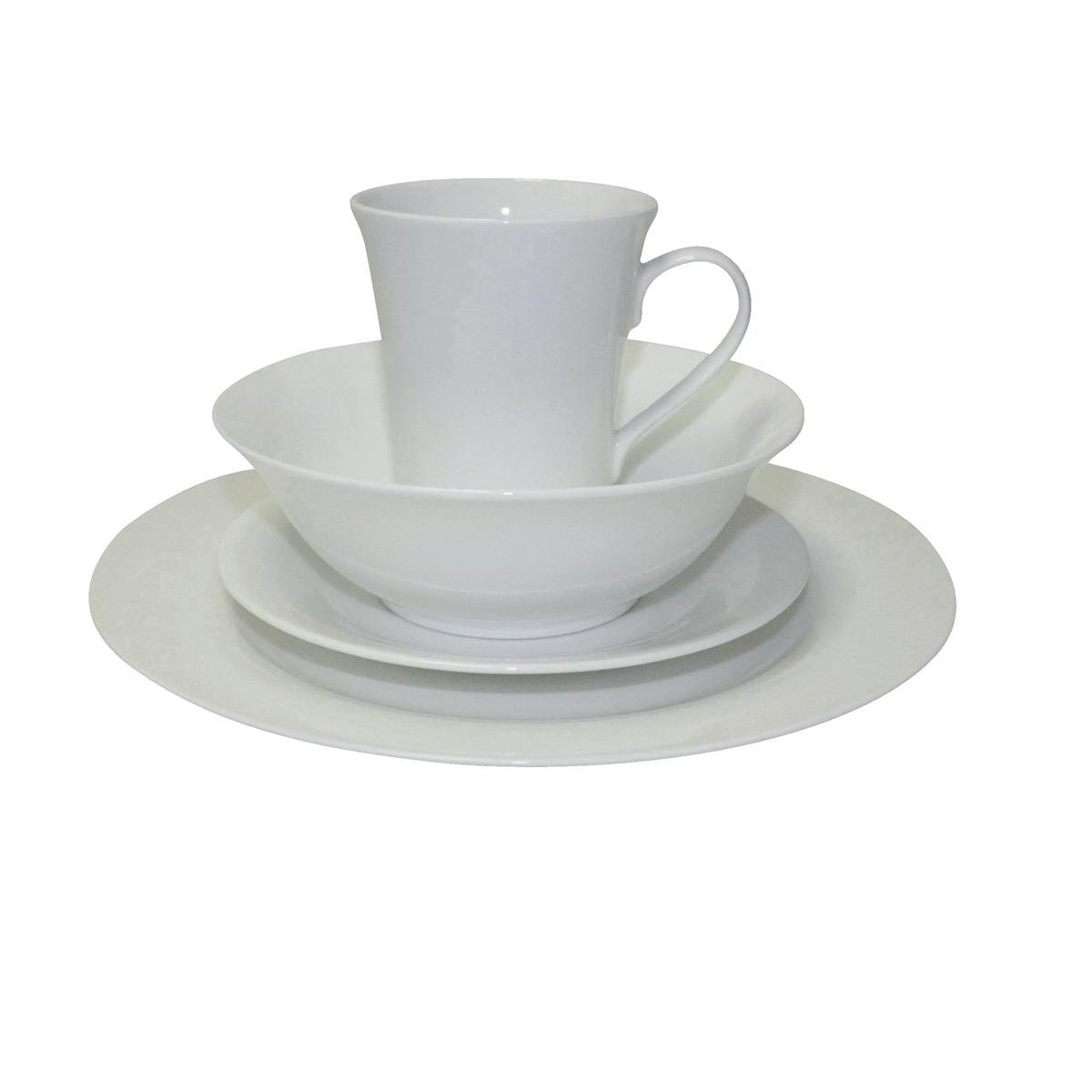 5 Star Facilities Dinner Set Fine Bone China 16 Piece White