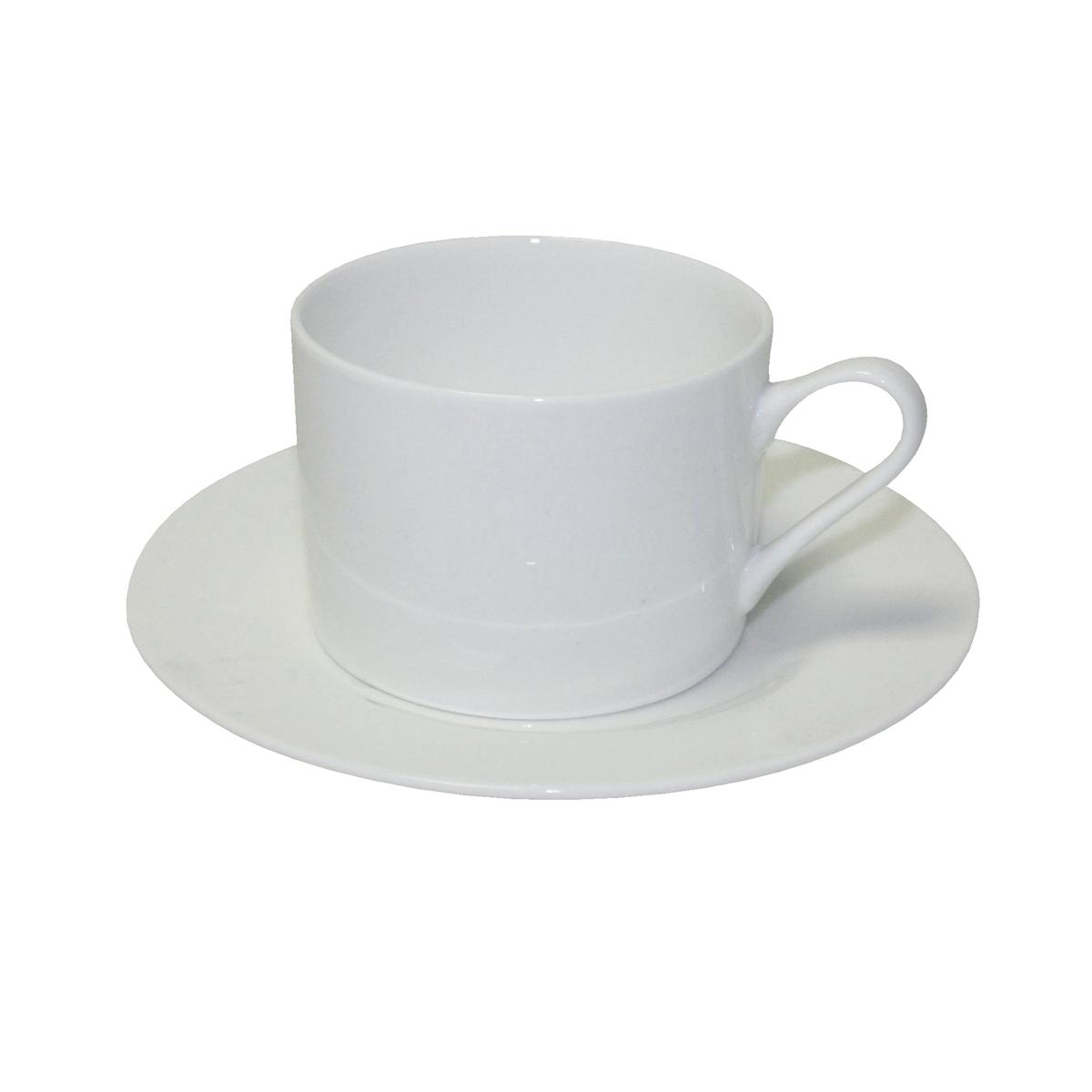 5 Star Facilities Tea Set Fine Bone China 6 Cups 6 Saucers White