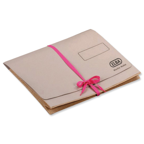 Document Wallets Elba Deed Legal Wallet with Security Ribbon 360gsm 75mm Foolscap Buff Ref 100080792 Pack 25