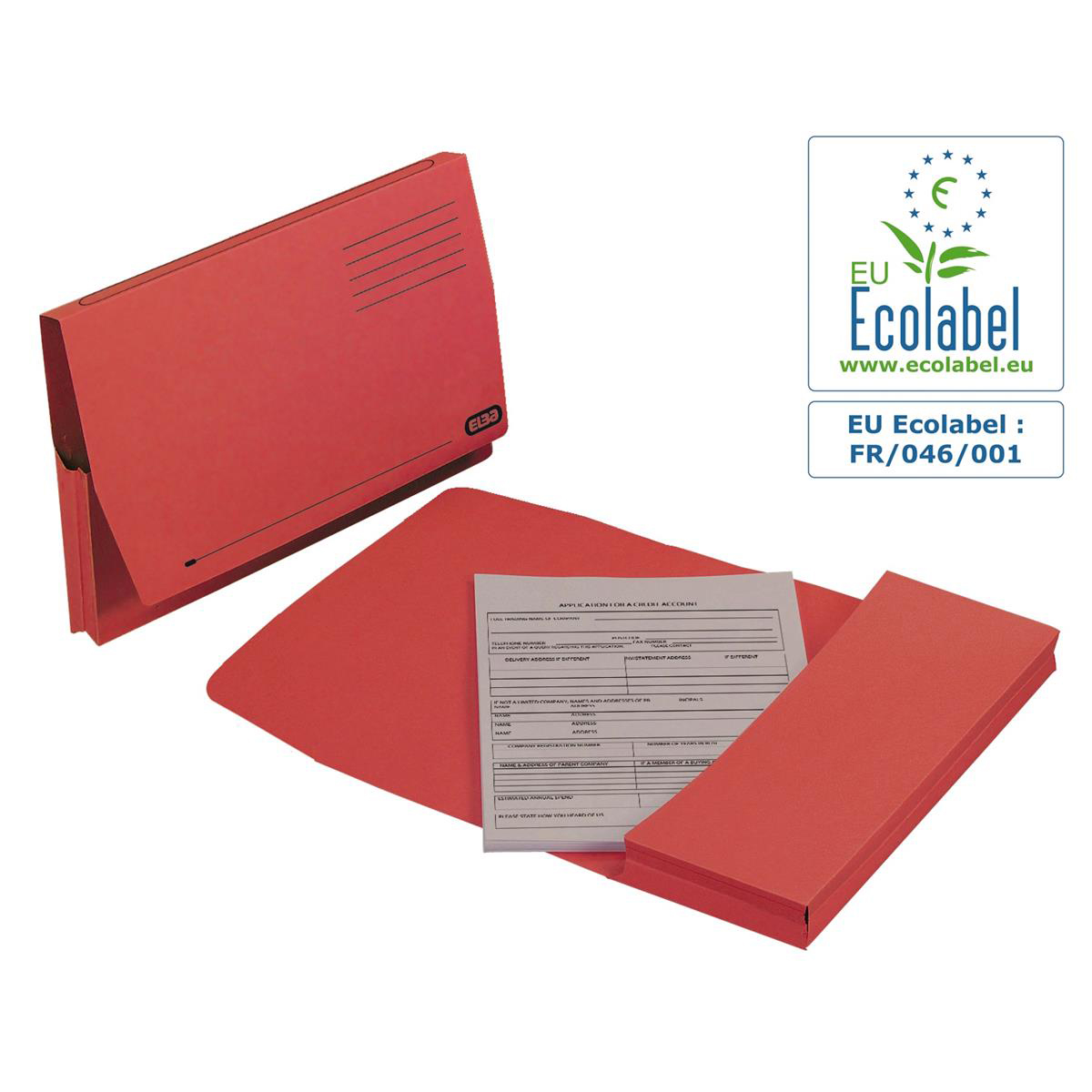 Elba Document Wallet Full Flap 285gsm Capacity 32mm Foolscap Red Ref 100090257 [Pack 50]