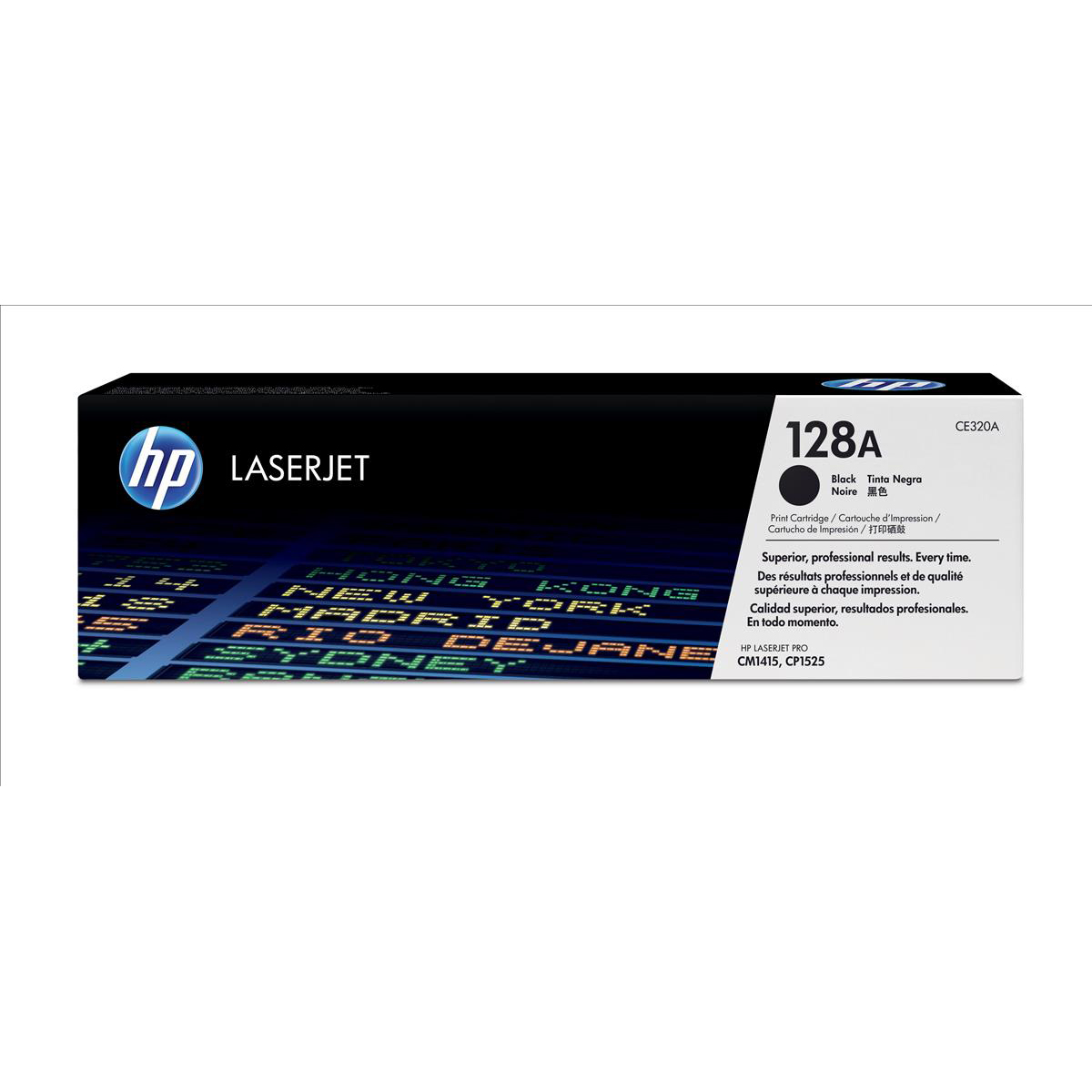 HP 128A Laser Toner Cartridge Page Life 2000pp Black Ref CE320AD [Pack 2]