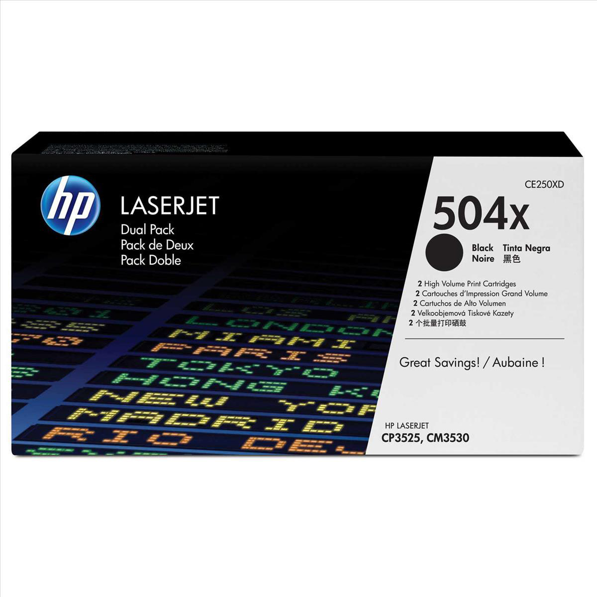 HP 504X Laser Toner Cartridge HY Page Life 10,500pp Black Ref CE250XD [Pack 2]