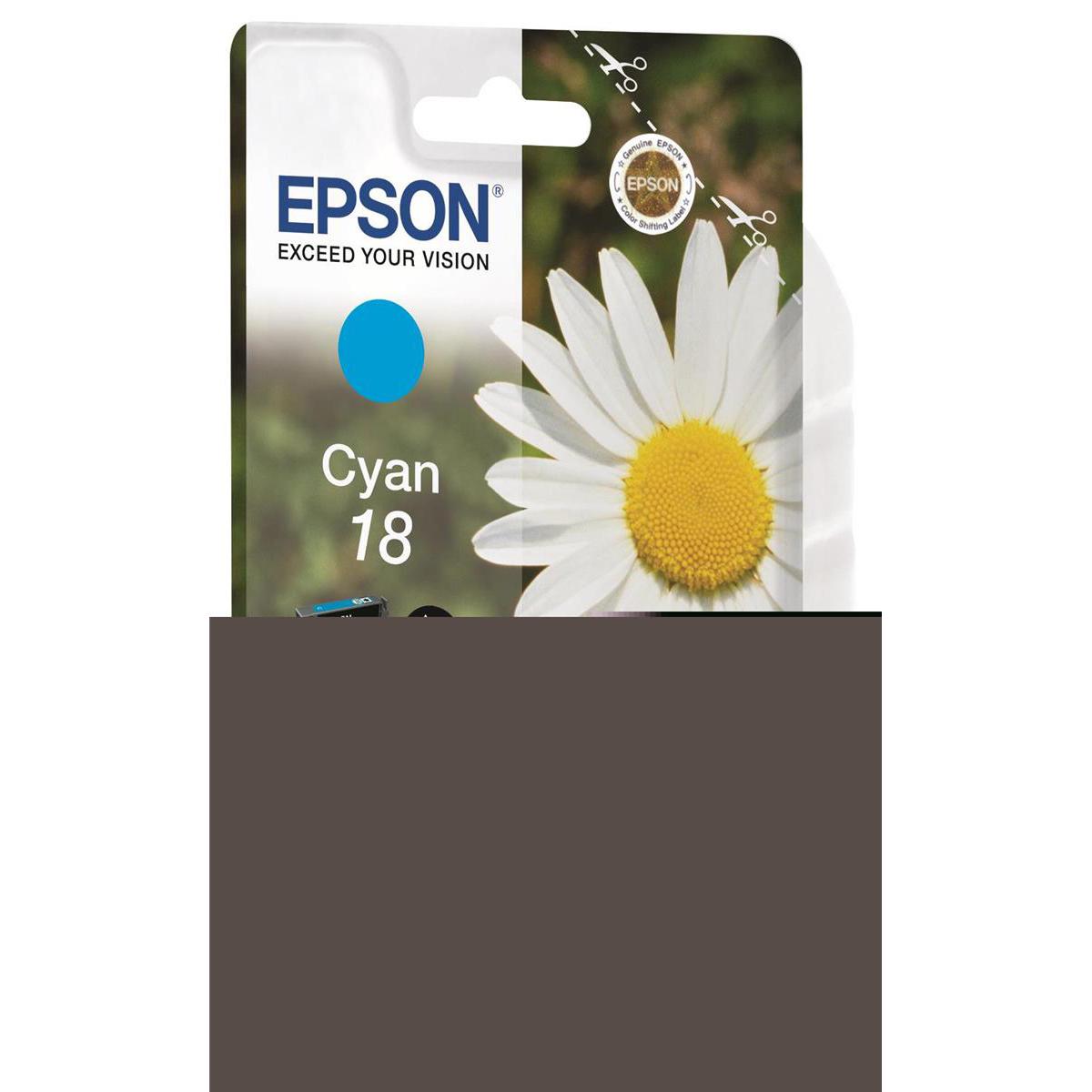Epson 18 Inkjet Cartridge Daisy Page Life 180pp 3.3ml Cyan Ref C13T18024012