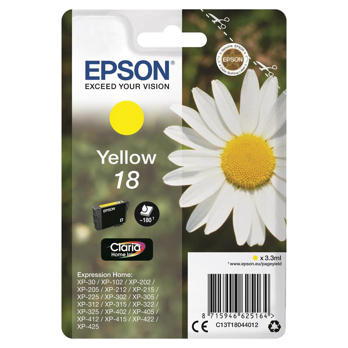 Epson 18 Inkjet Cartridge Daisy Page Life 180pp 3.3ml Yellow Ref C13T18044012
