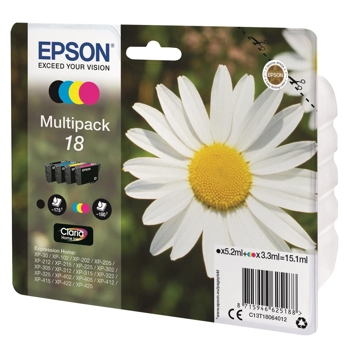 Epson 18 Inkjet Cartridges Daisy Black 5.3ml Cyan/Magenta/Yellow 3.3ml Ref C13T18064012 [Pack 4]
