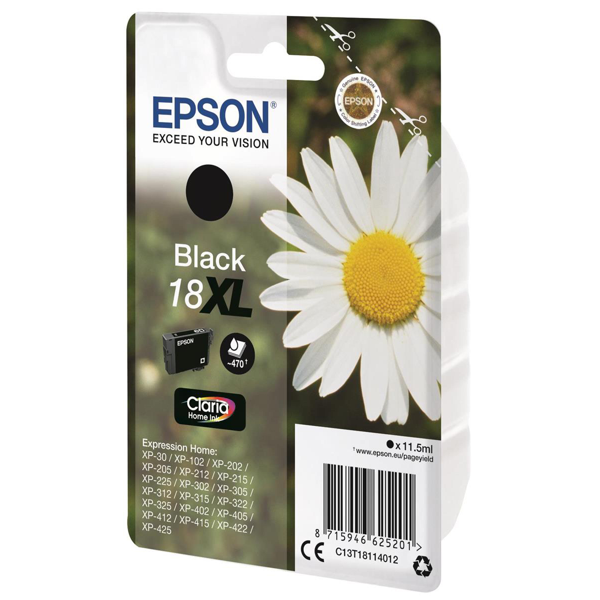 Epson 18XL Inkjet Cartridge Daisy High Yield Page Life 470pp 11.5ml Black Ref C13T18114012