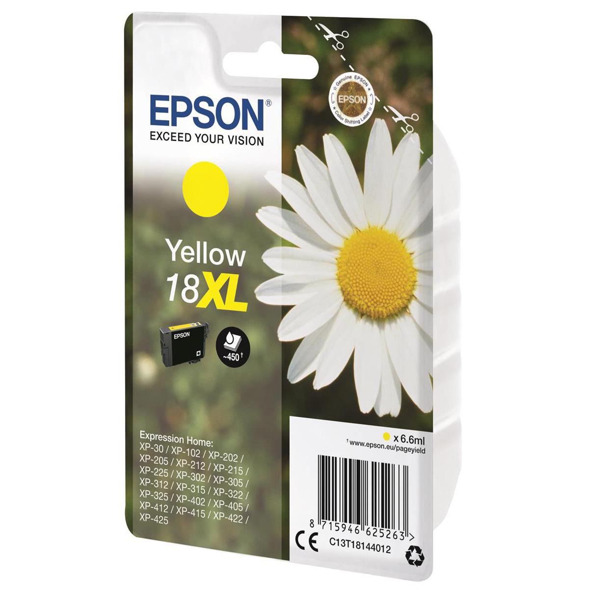 Epson 18XL Inkjet Cartridge Daisy High Yield Page Life 450pp 6.6ml Yellow Ref C13T18144012