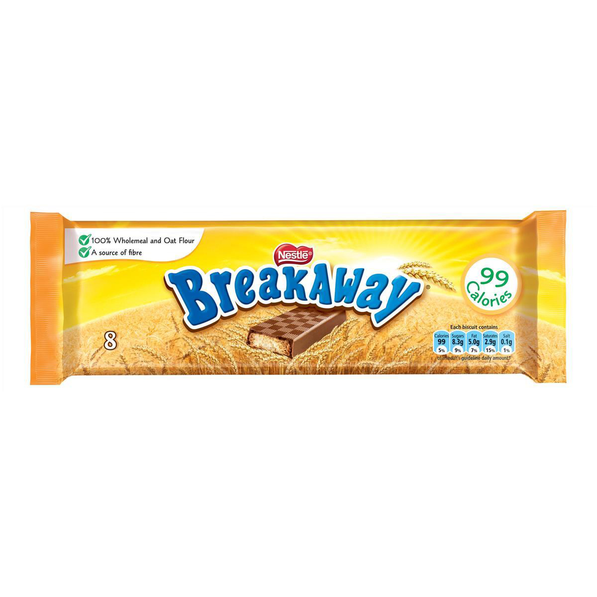Nestle Breakaway Milk Chocolate Covered Biscuits Individually Wrapped Ref 12232568 Pack 8