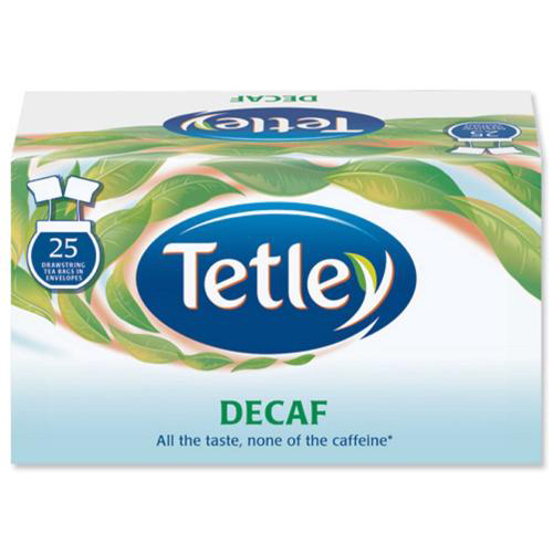 Tetley Individually Enveloped Tea Bags Decaffeinated Drawstring in Envelope Ref 1285 [Pack 25]