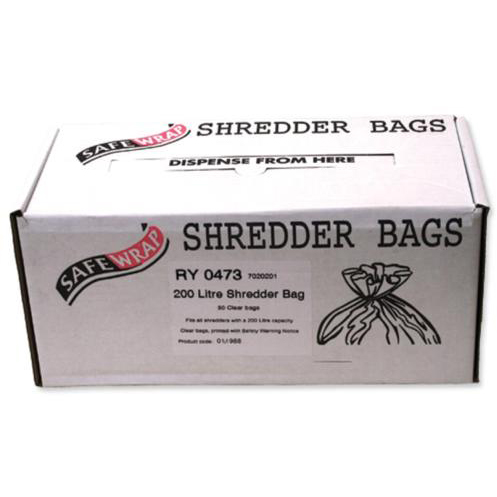 Robinson Young Safewrap Shredder Bags 200 Litre Ref RY0473 Pack 50