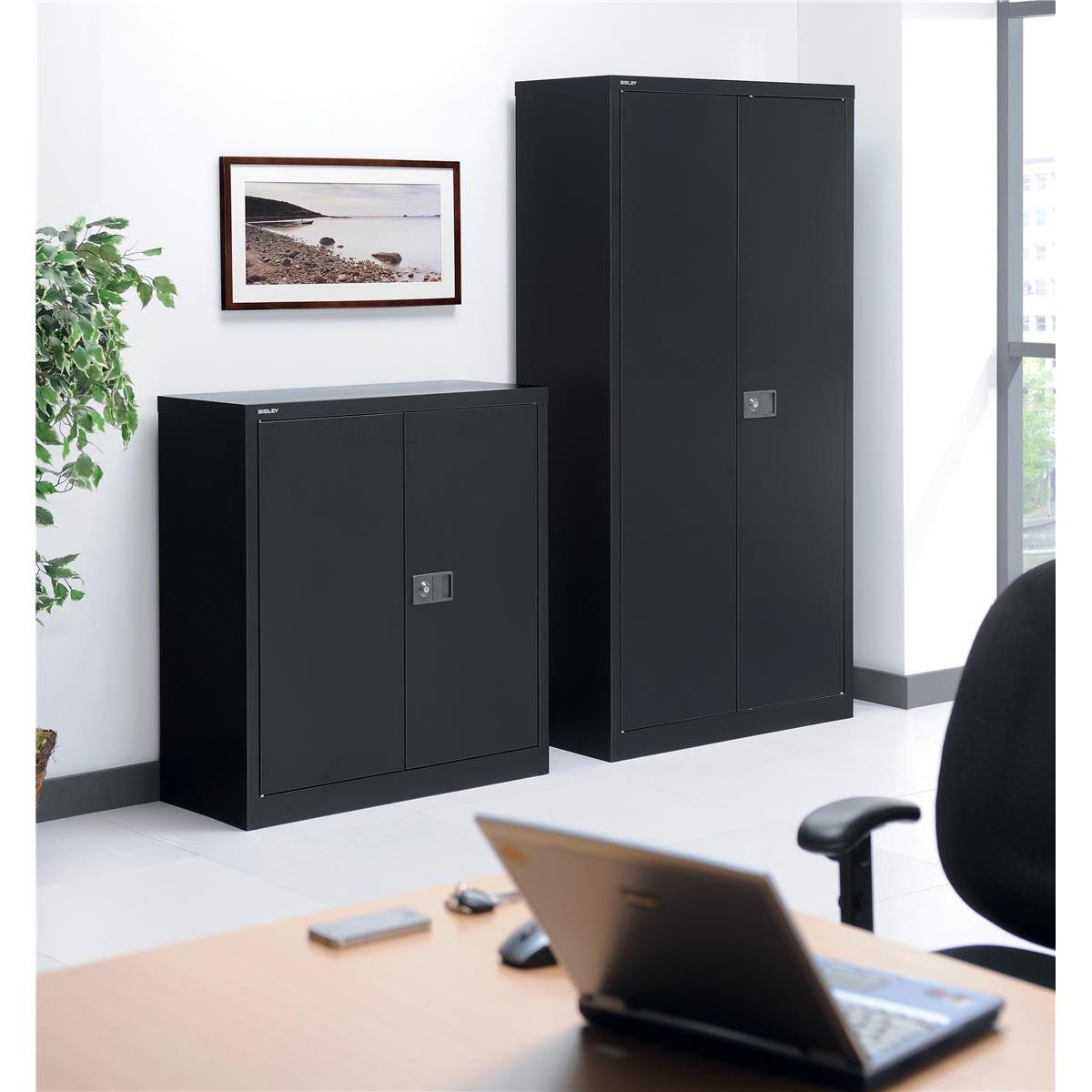 Trexus Two Door Steel Storage Cupboard 914x400x1806mm Black Ref 101210