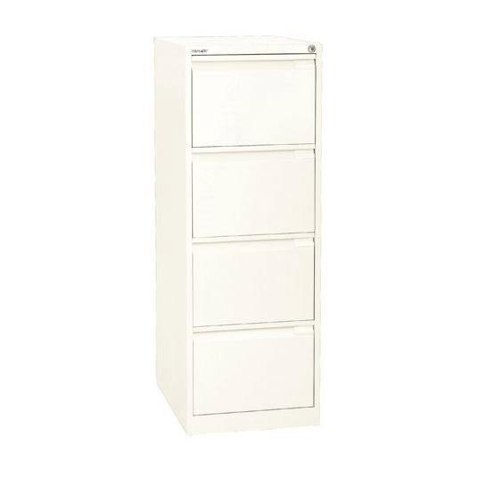 Bisley Filing Cabinet 4 Drawer 470x622x1321mm White Ref 1643-ab9