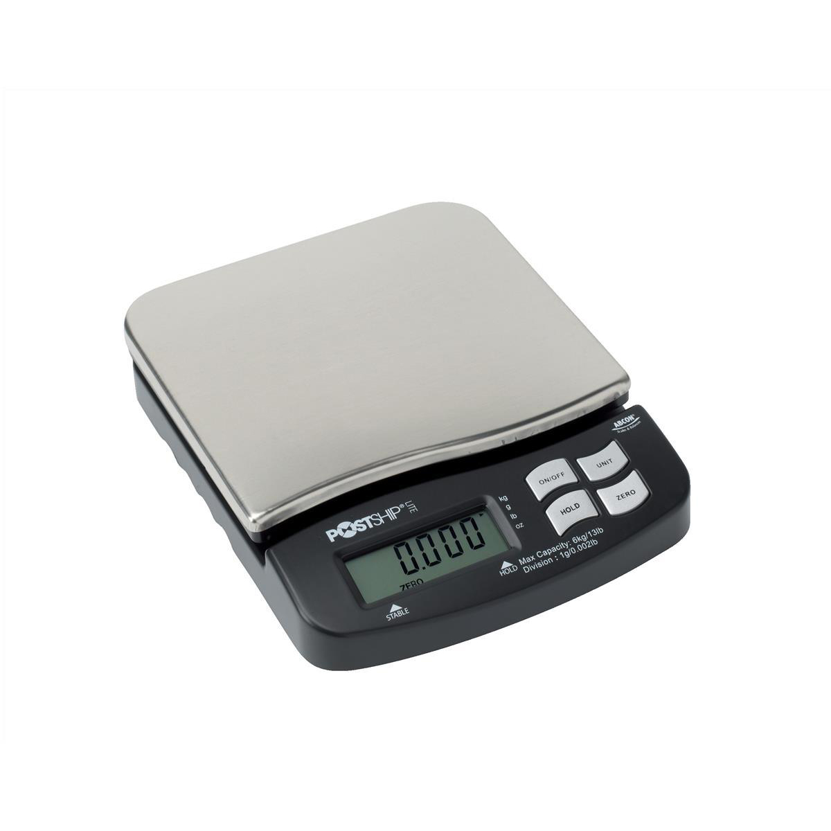 Image for Postship Lite Scale 1g Increments Capacity 6kg Display Chrome and Black Ref PSL60