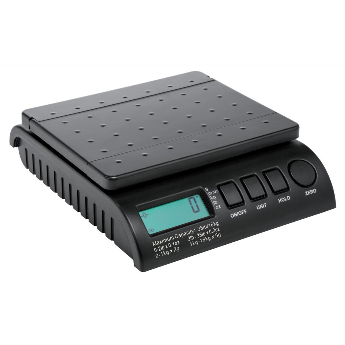 Scales Postship Multi Purpose Scale 2g Increments Capacity 16kg LCD Display Black Ref PS160B
