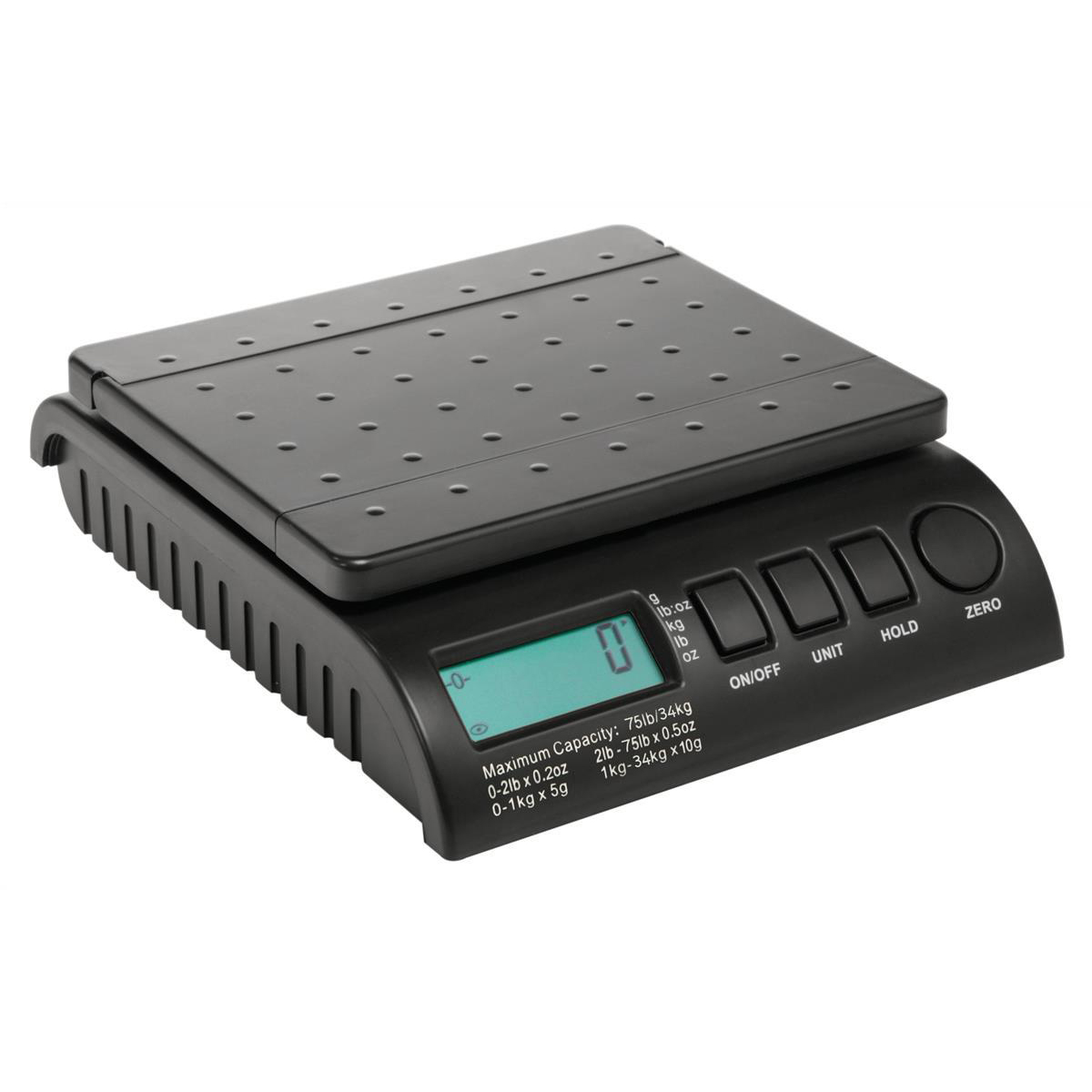 Postal scales Postship Multi Purpose Scale 5g or 10g Increments Capacity 34kg LCD Display Black Ref PS3400B