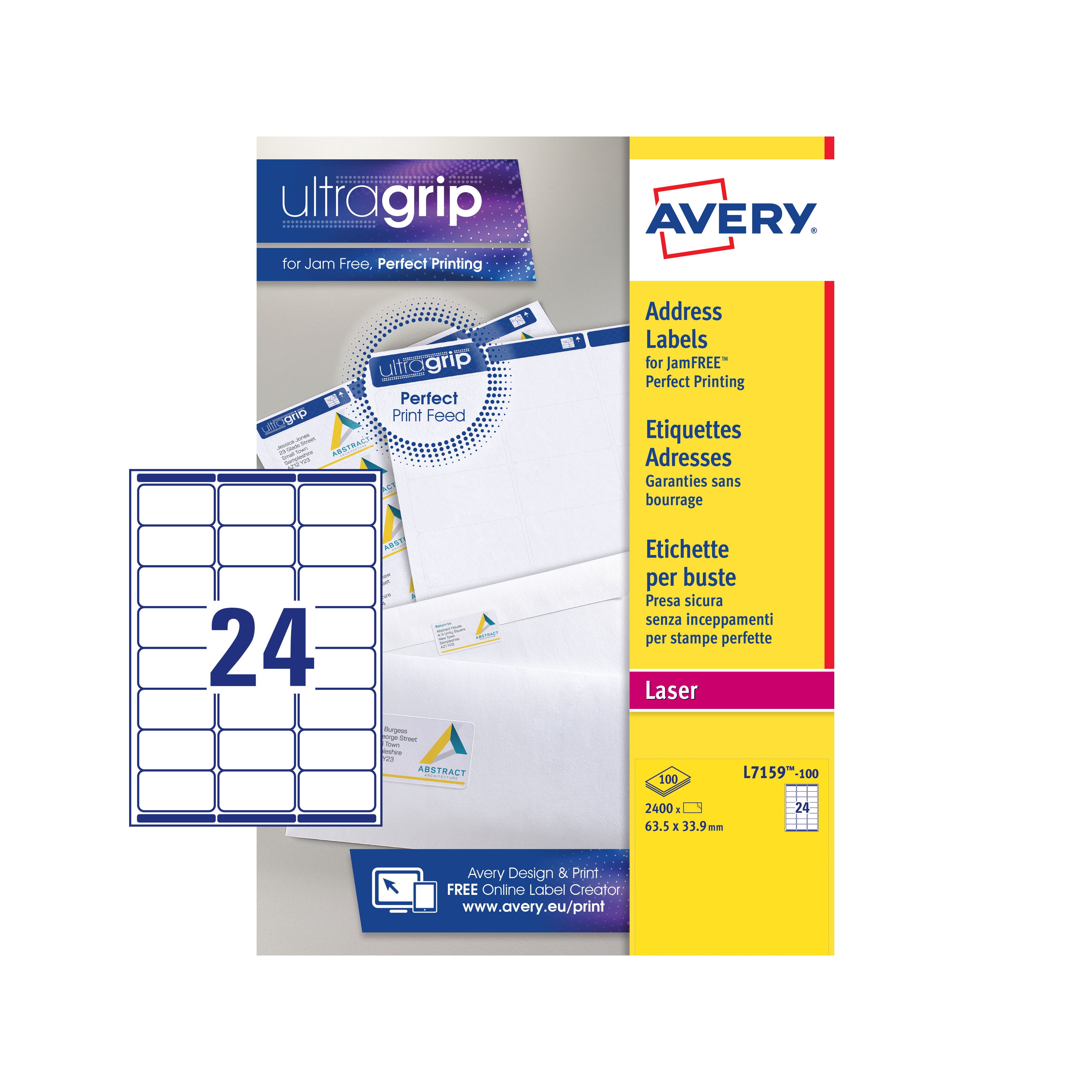 Avery Addressing Labels Laser Jam-free 24 per Sheet 63.5x33.9mm White Ref L7159-100 2400 Labels