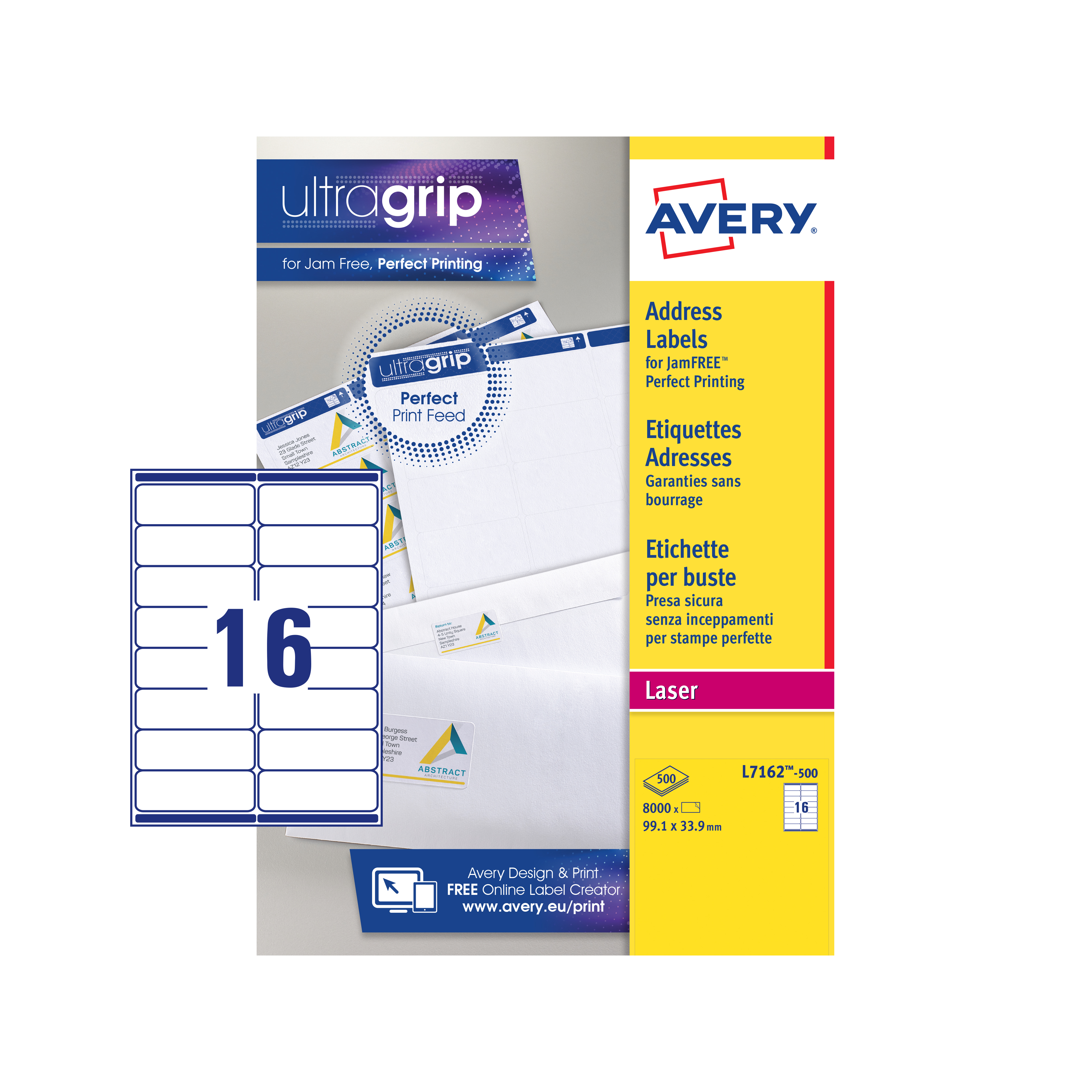 Avery Addressing Labels Laser Jam-free 16 per Sheet 99.1x33.9mm White Ref L7162-500 8000 Labels