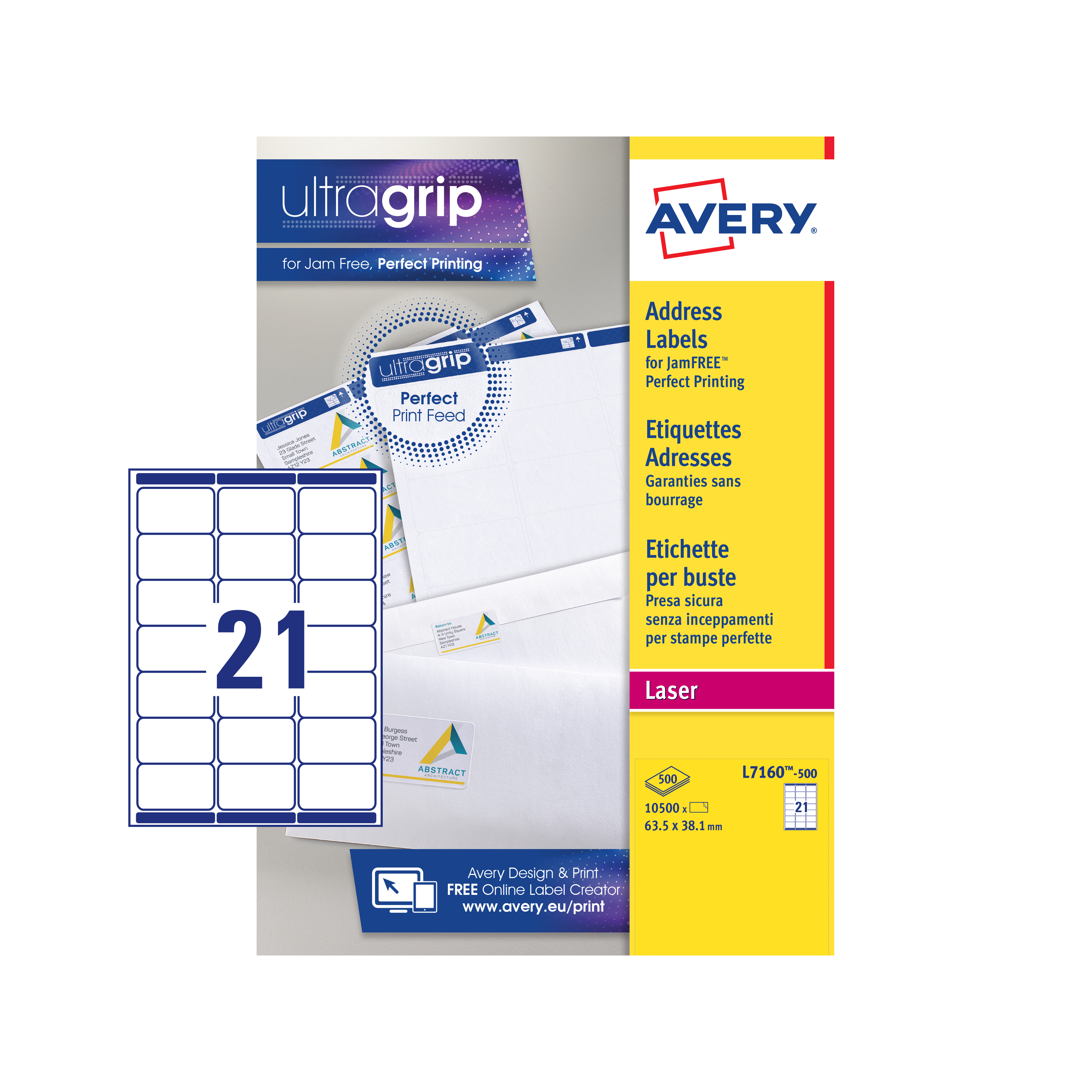 Avery Addressing Labels Laser Jam-free 21 per Sheet 63.5x38.1mm White Ref L7160-500 10500 Labels