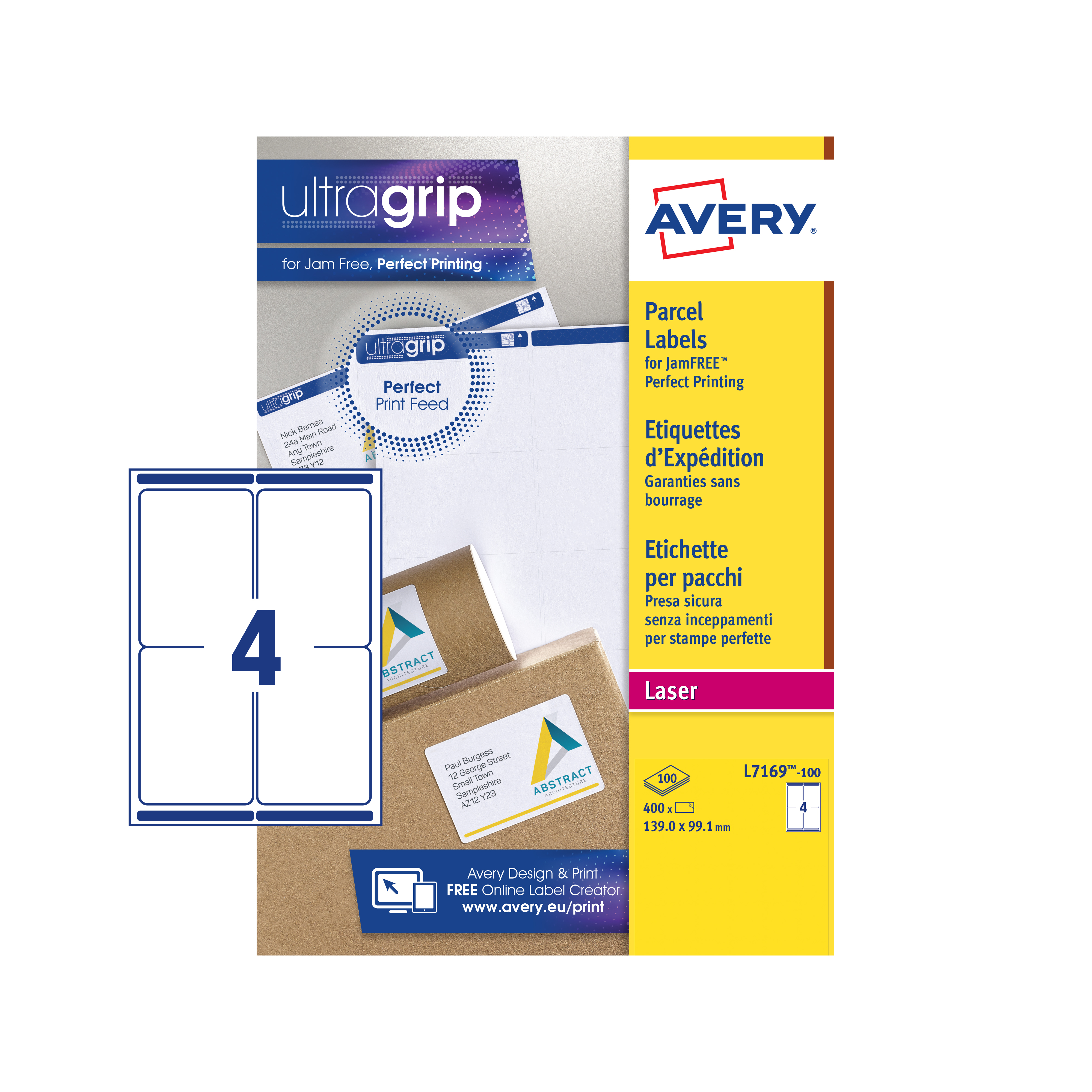 Avery Parcel Labels Laser Jam-free 4 per Sheet 139x99.1mm Opaque White Ref L7169-100 400 Labels