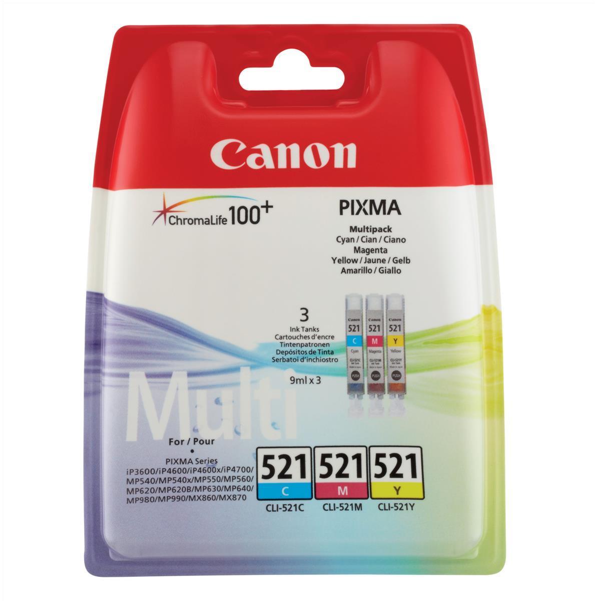 Canon CLI-521 Inkjet Cartridges Cyan/Magenta/Yellow Ref 2934B007 [Pack 3]