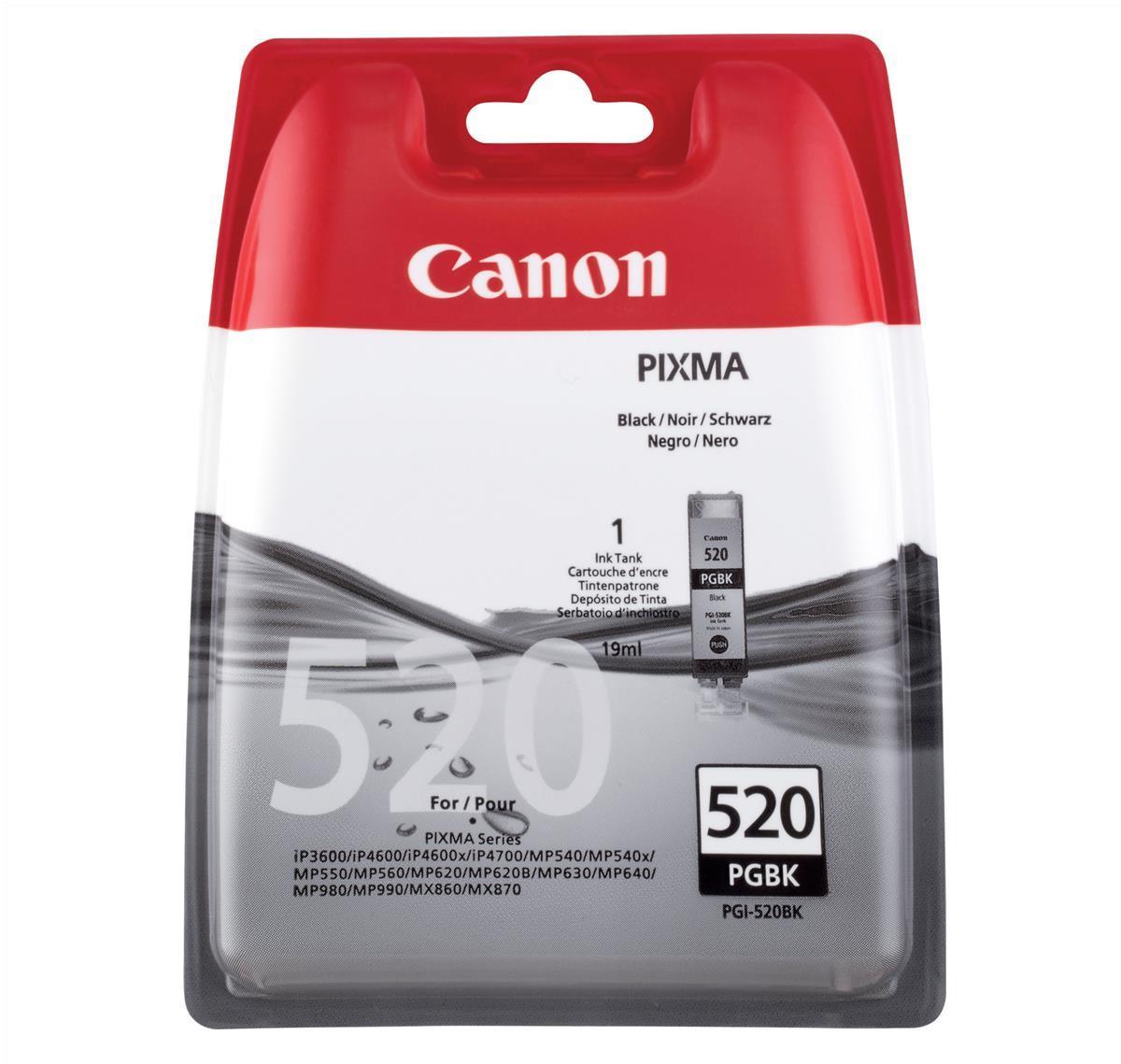 Canon PGI-520BK Inkjet Cartridge 19ml Page Life 324pp Black Ref 2932B001