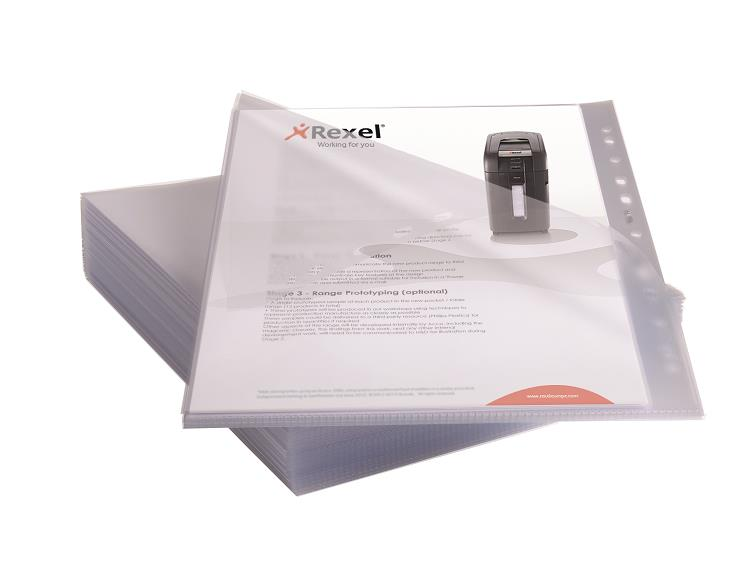 Rexel Anti Slip Pockets Multipunched Polypropylene A4 Clear Ref 2102180 [Pack 25]