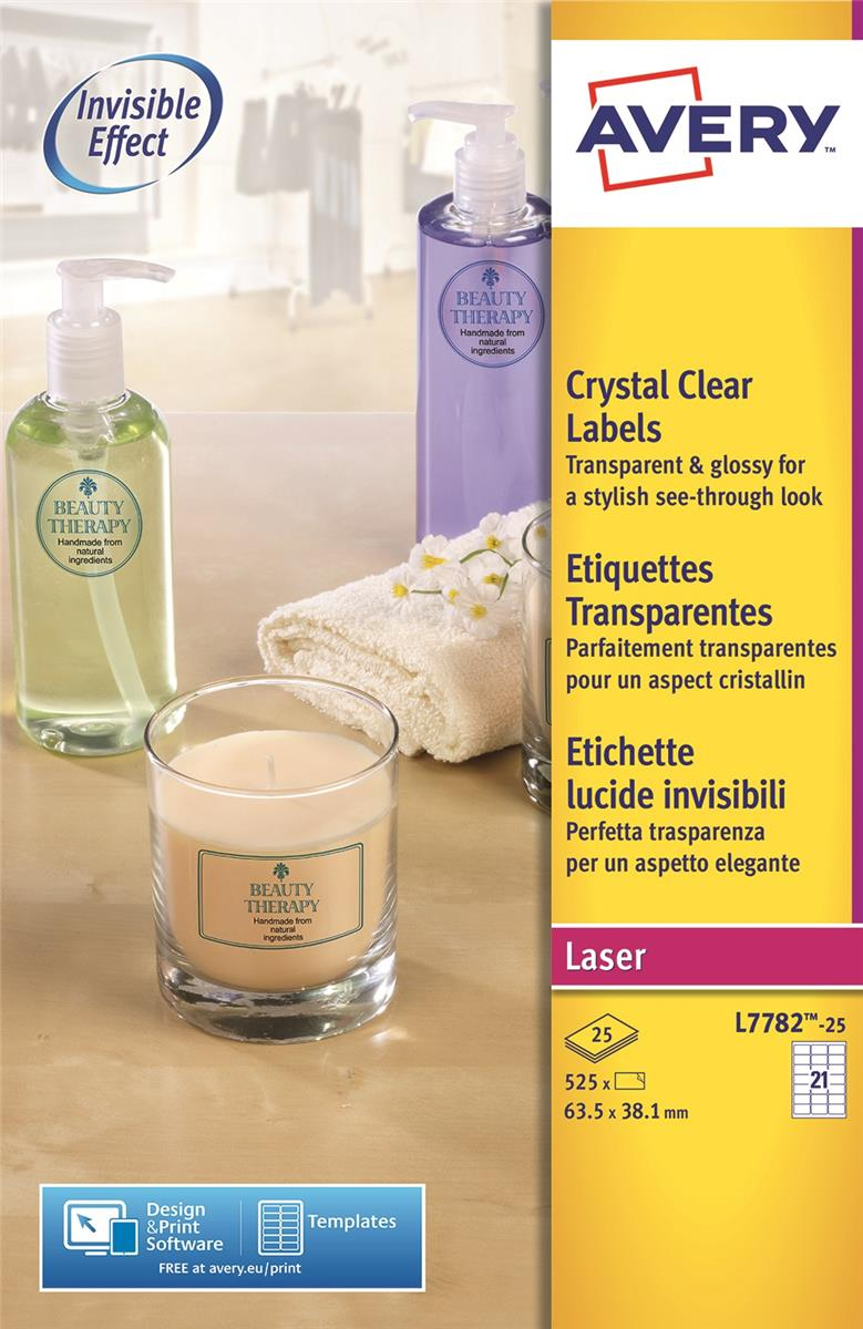 Avery Crystal Clear Labels Laser Durable 21 per Sheet 63.5x38.1mmTransparent Ref L7782-25 [525 Labels]