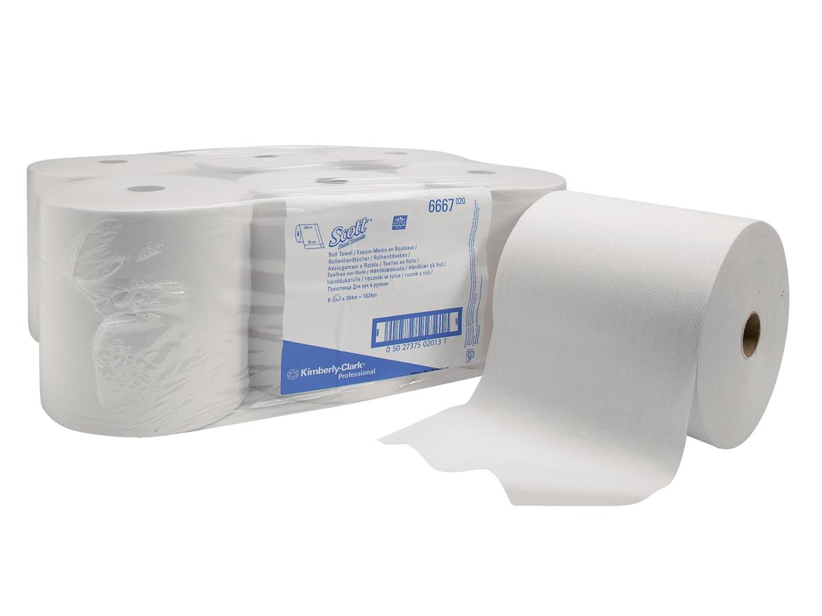 Scott Hand Towel Roll Single Ply for Ripple Dispenser Sheet Size 200x304mm White Ref 6667 [Pack 6]