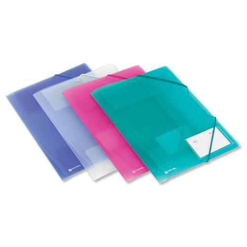 Rexel Ice File 4-Fold Durable Polypropylene Elasticated for 200 Sheets A4 Assorted Ref 2102050 [Pack 4]