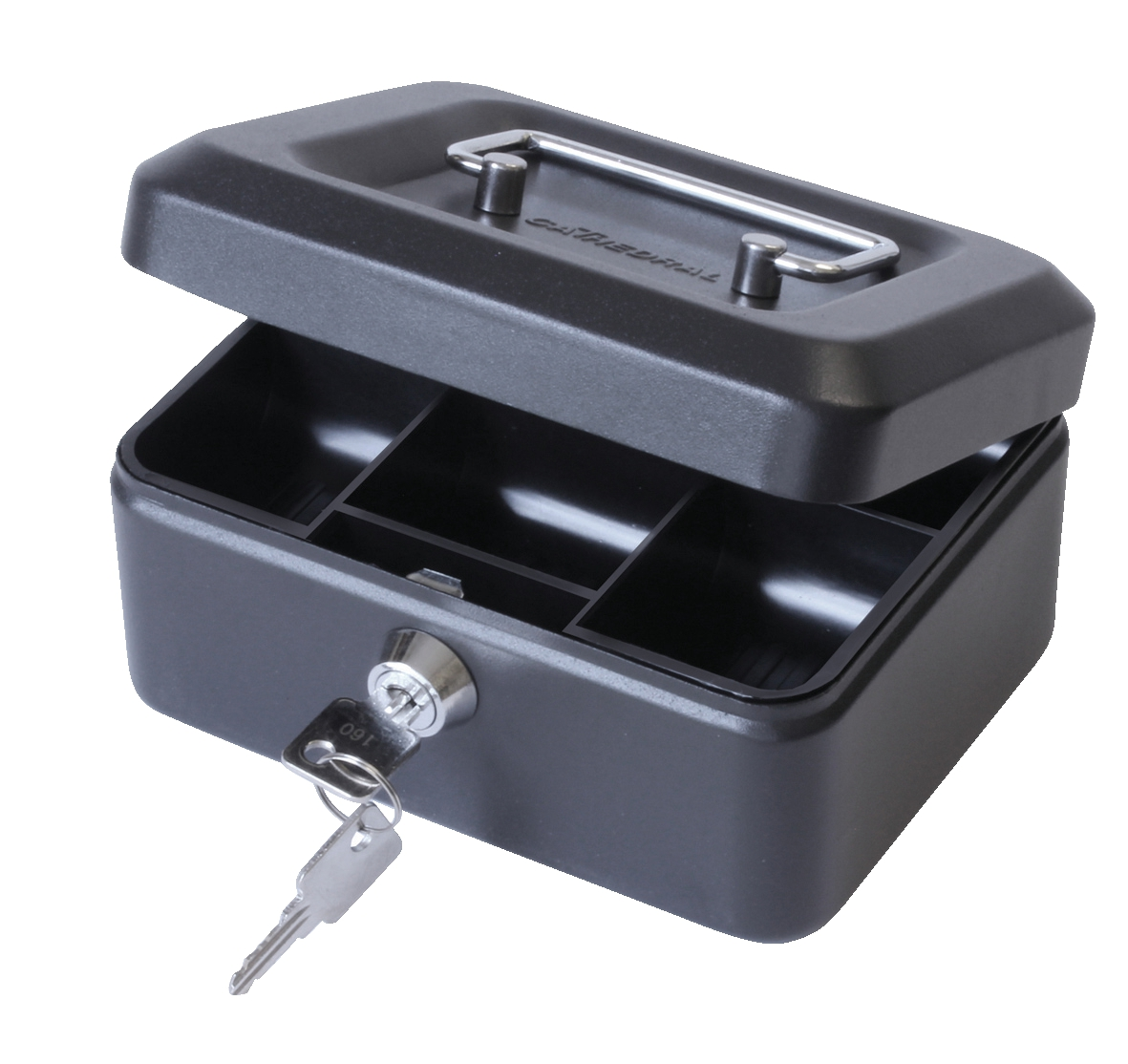 Cash Box with Simple Latch and 2 Keys plus Removable Coin Tray 152mm Black