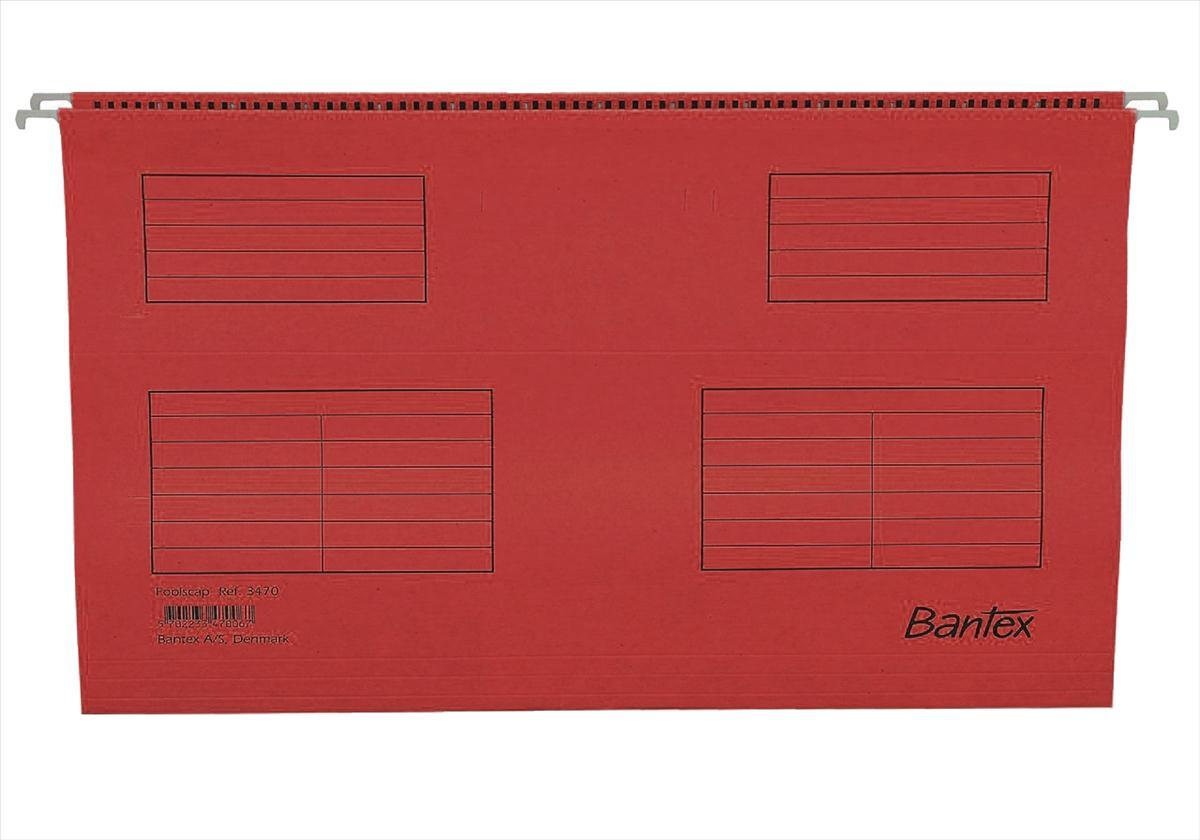 Image for Bantex Flex Suspension File Kraft V-Base 15mm Square 30mm Foolscap Red Ref 100331440