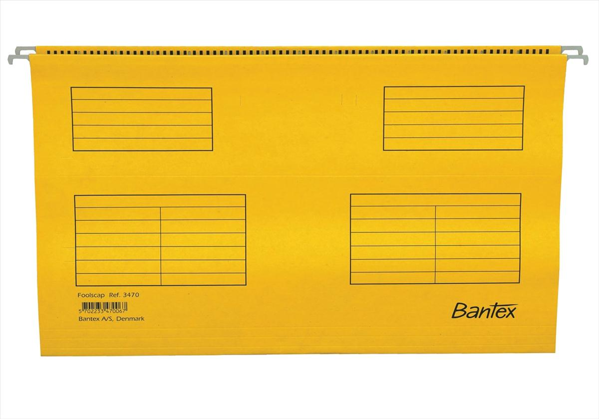 Image for Bantex Flex Suspension File Kraft V-Base 15mm Square 30mm Foolscap Yellow Ref 100331438