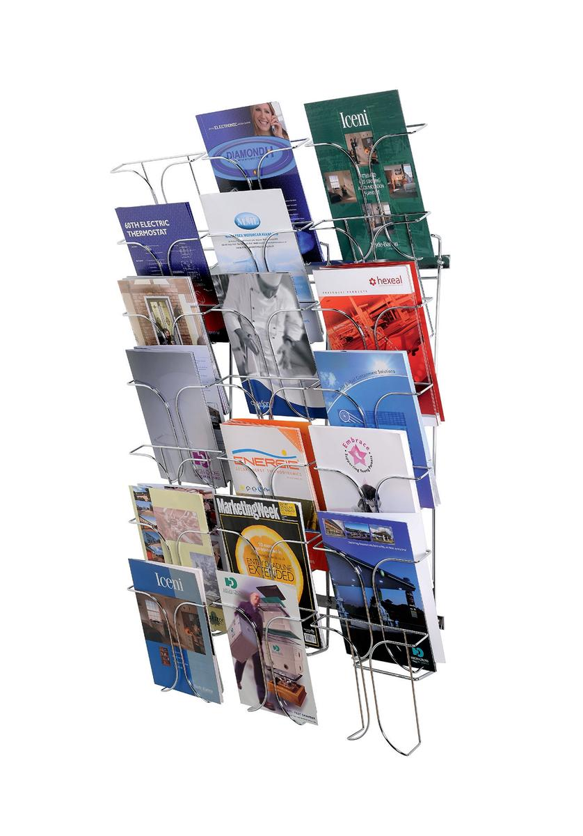 Image for Wall Literature Holder Wire 21 Pockets Chrome