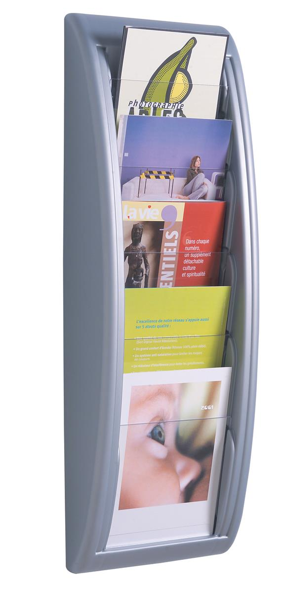 Image for Fast Paper Literature Holder Wall Mount 5 x A5 Pockets Aluminium Silver Ref 4063.35