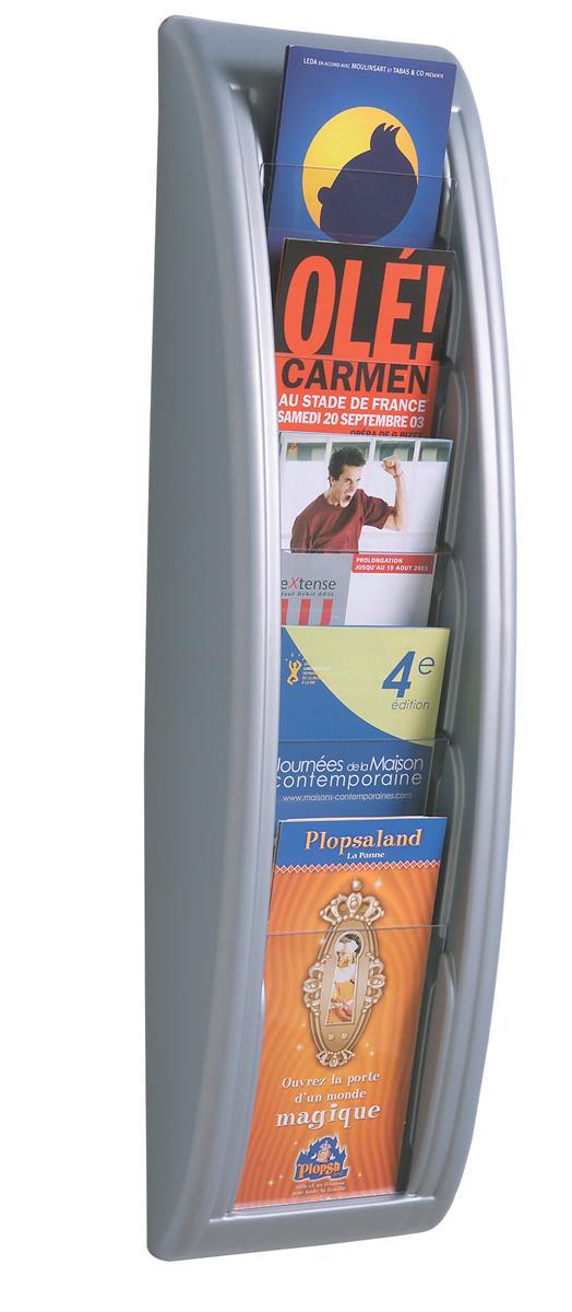 Image for Fast Paper Literature Holder Wall Mount 5 x 1/3xA4 Pocket Aluminium Silver Ref 4062.35