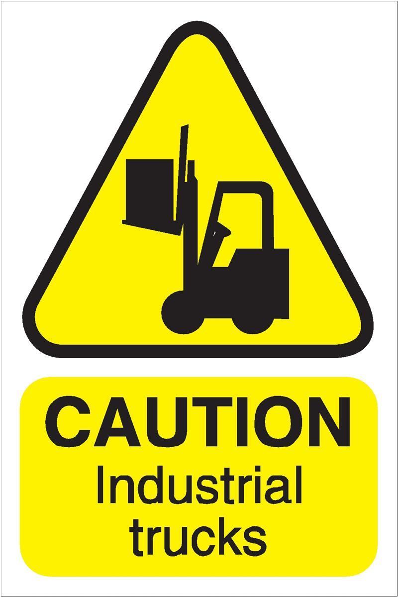 Stewart Superior Caution Industrial Trucks Sign for Outdoor Use Foamboard Ref FB032