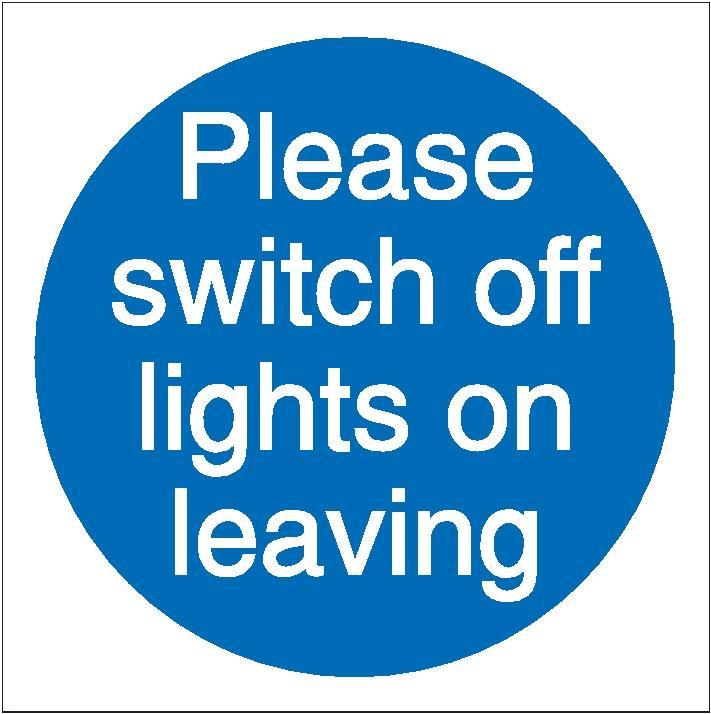 Stewart Superior Please Switch Off Lights Self Adhesive Sign Ref M013SAV