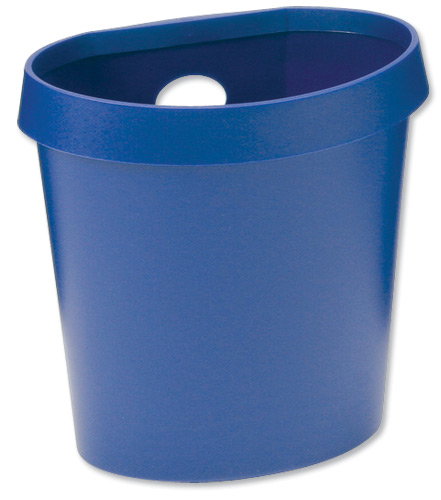 Avery DR500 Waste Bin with Rim Flat Back 18 Litres W350xD250xH340mm Blue Ref DR500BLU